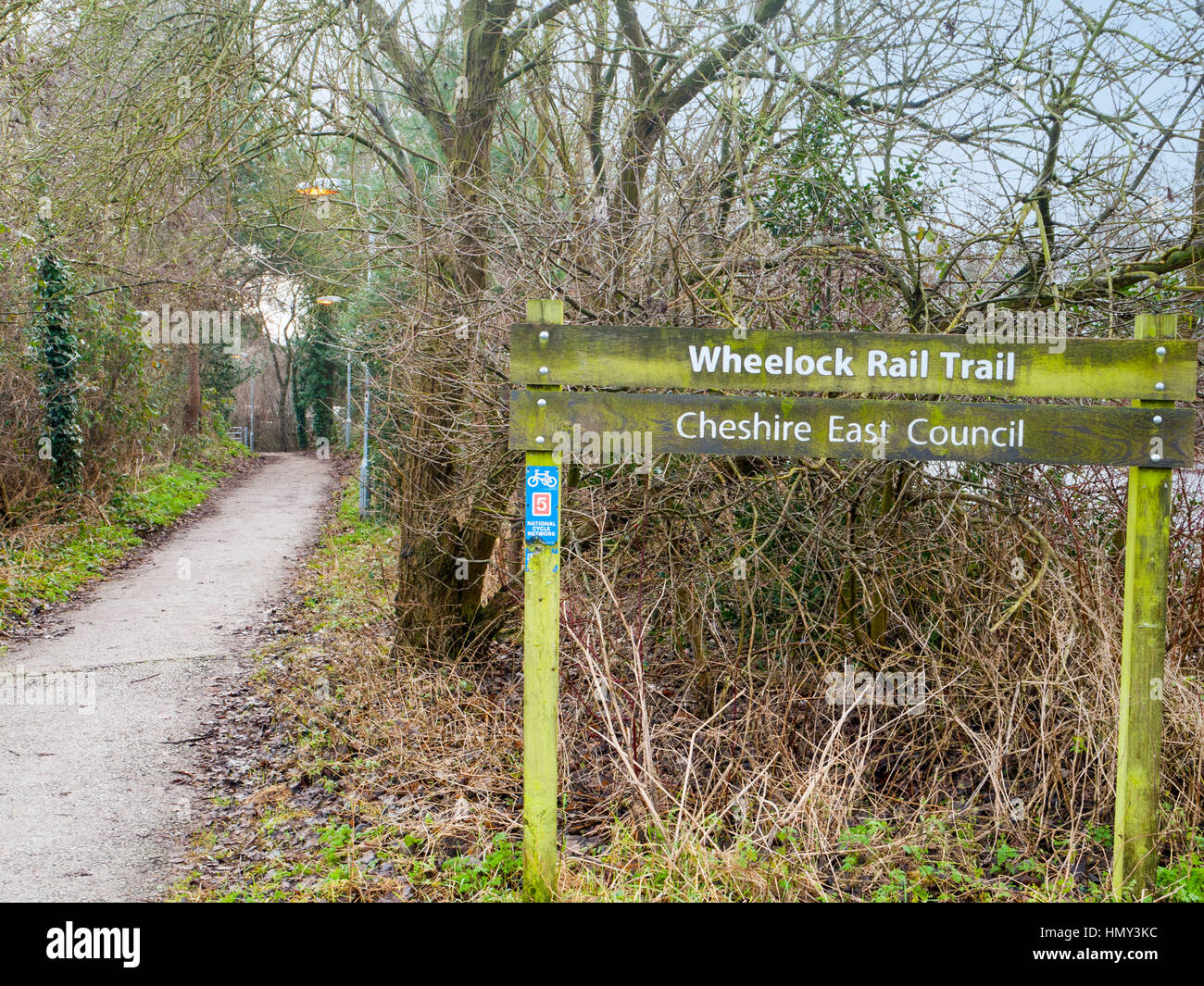 Wheelock rail trail is a disused rail track now public footpath in Cheshire UK - Stock Image