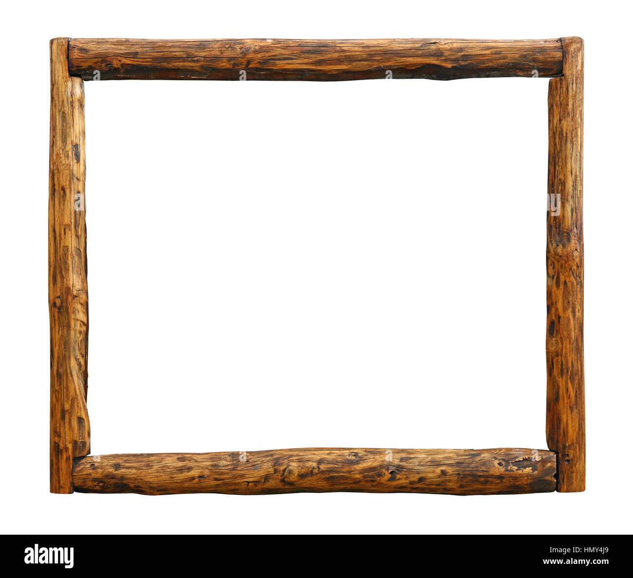 Old vintage wooden pine grunge brown aged rustic log border frame ...