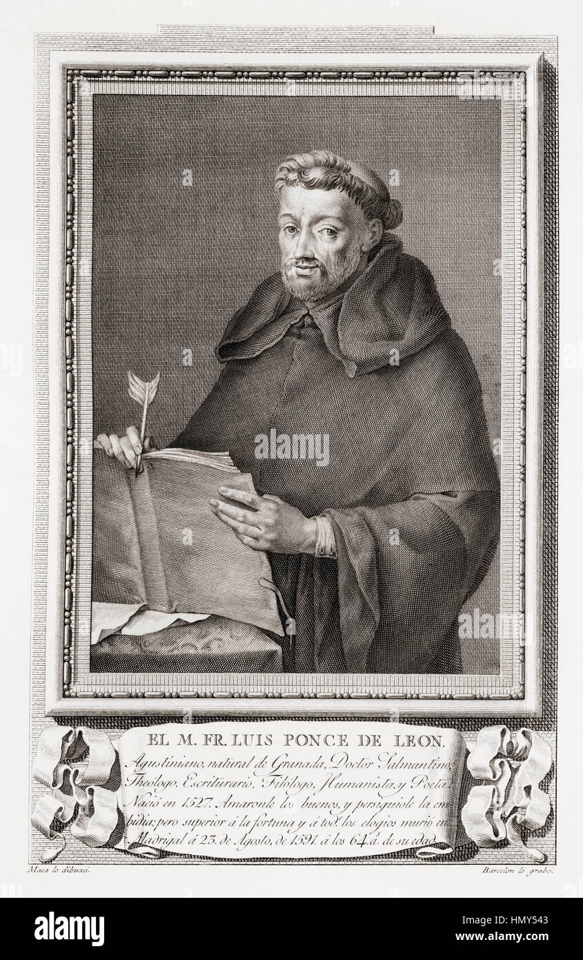 Luis de León,1527 – 1591.  Spanish lyric poet, Augustinian friar, theologian and academic.  After an etching - Stock Image