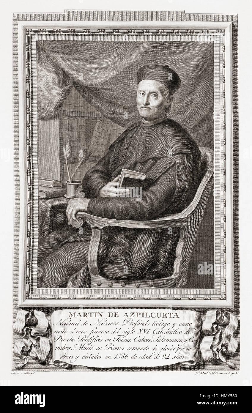 Martín de Azpilcueta aka Doctor Navarrus, 1491 – 1586.  Important Basque canonist, theologian and an early - Stock Image
