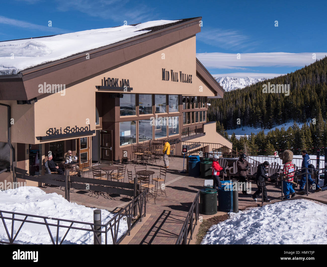Mid-Vail Village, winter, Vail Ski Resort, Vail, Colorado. - Stock Image
