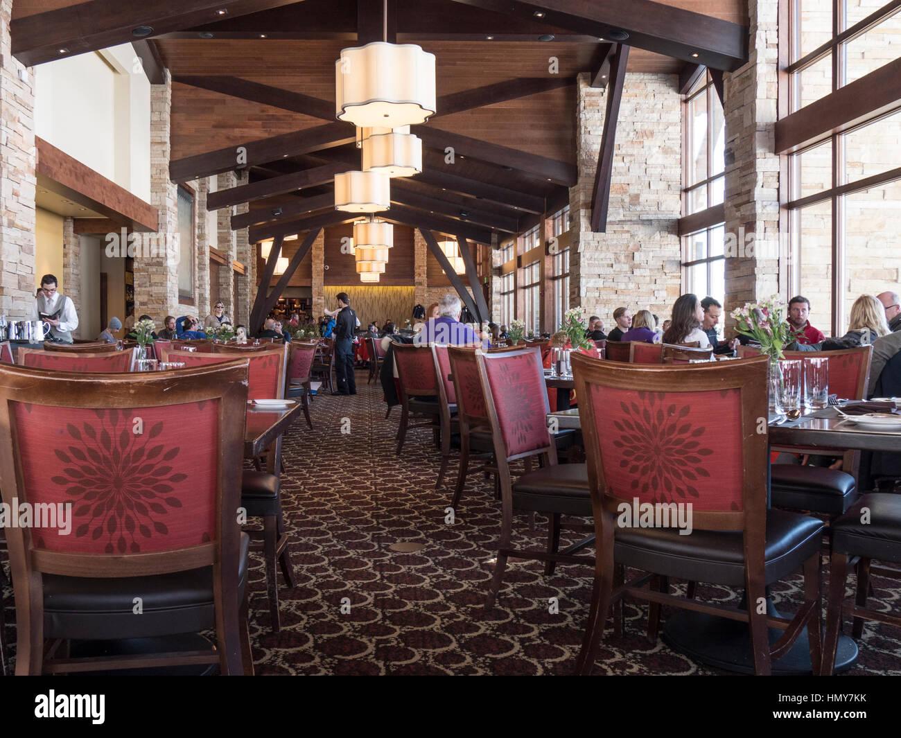 Inside the 10th restaurant, Mid-Vail Village, winter, Vail Ski Resort, Vail, Colorado. - Stock Image
