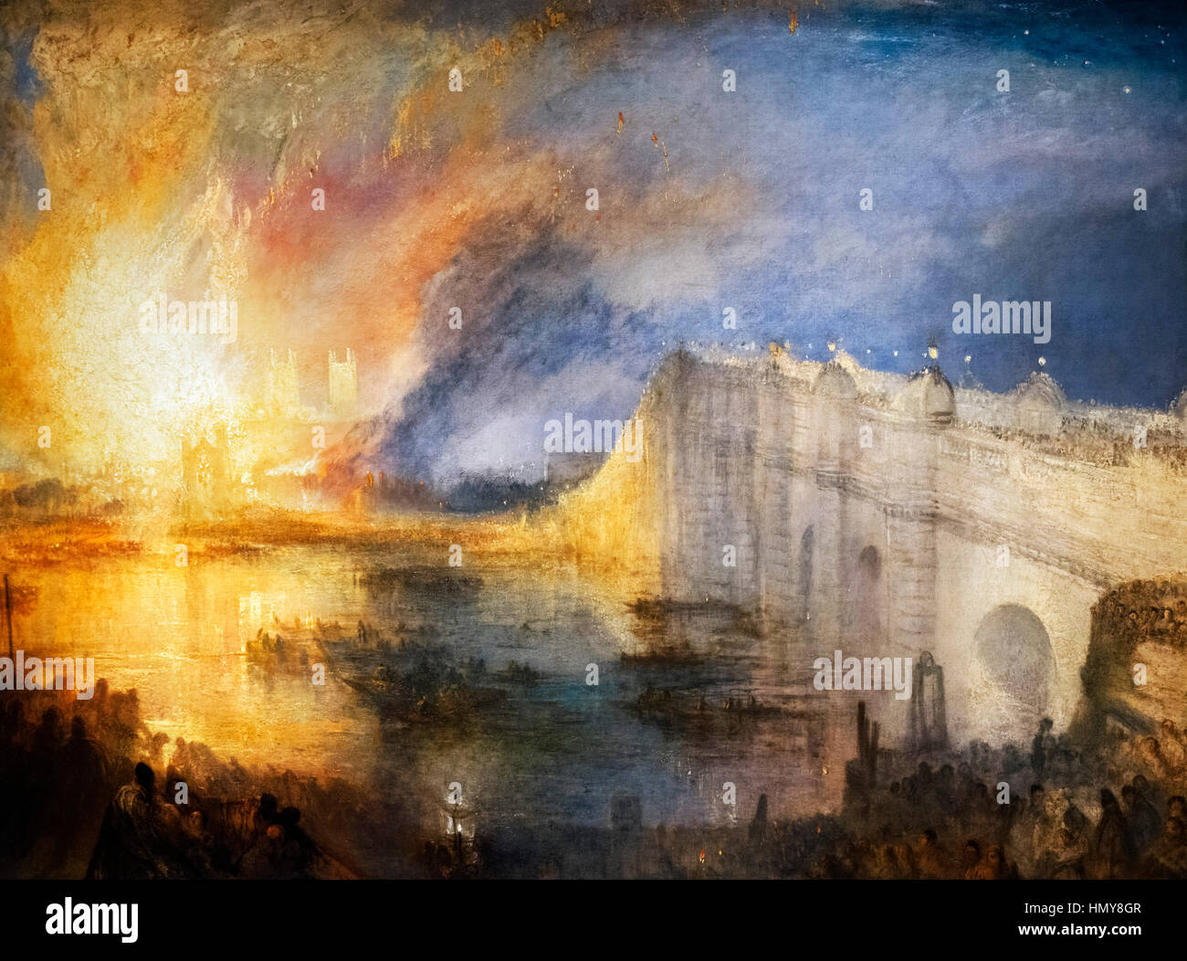 JMW Turner, The Burning of the Houses of Parliament, 16th October 1834, oil on canvas, c.1834/5 - Stock Image