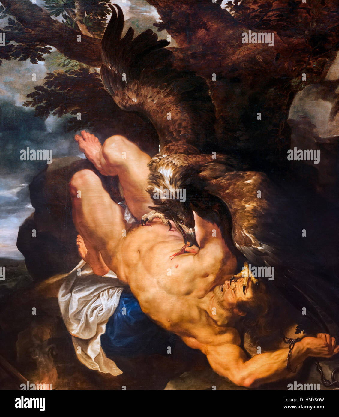Rubens painting. 'Prometheus Bound' by Peter Paul Rubens, oil on canvas, c.1611-18. Bird painted by Frans - Stock Image