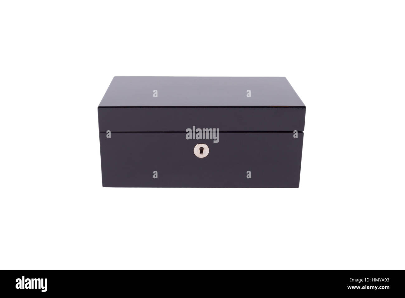 The black box is a locked on a white background - Stock Image