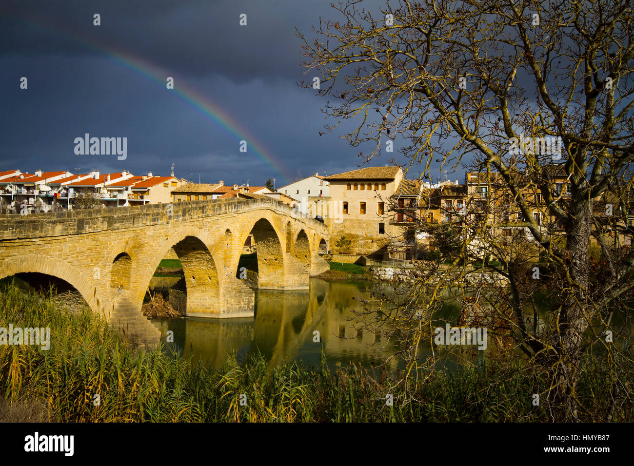 Pilgrims Bridge. Puente la Reina. Navarre, Spain. - Stock Image
