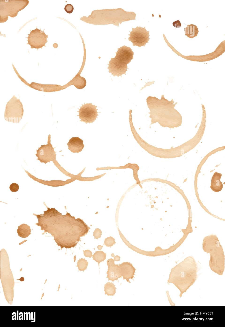 Set of variuos coffee stains isolated on white - Stock Vector