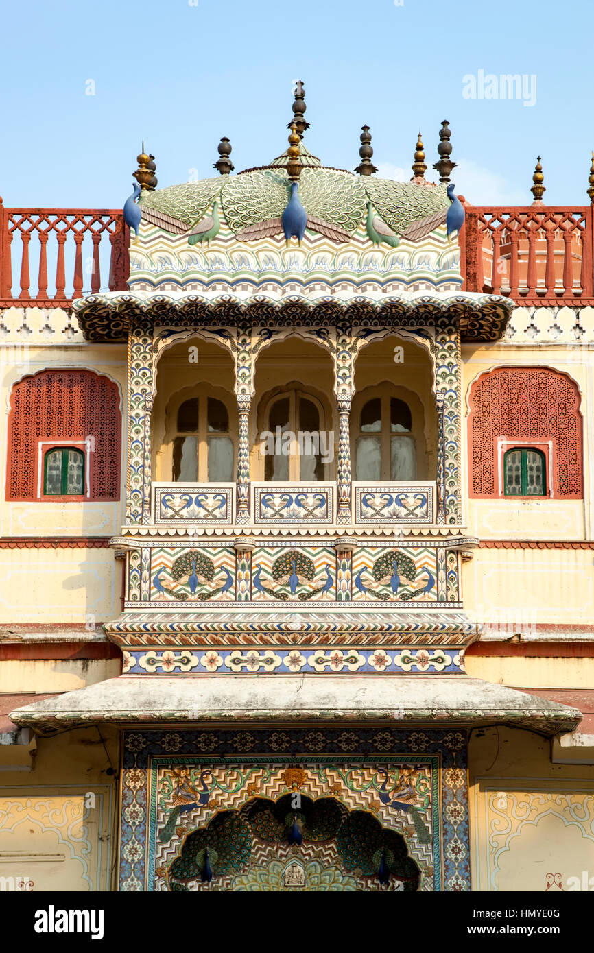Balcony, Chandra Mahal building, City Palace, Jaipur, Rajasthan, India Stock Photo