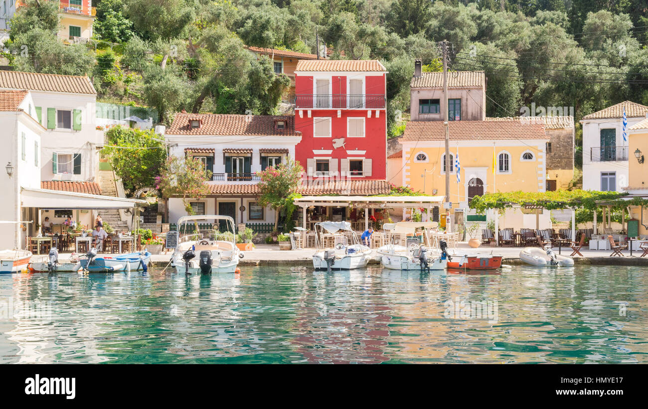 picturesque greek fishing village of Loggos on the Ionian island of Paxos, Greece - Stock Image