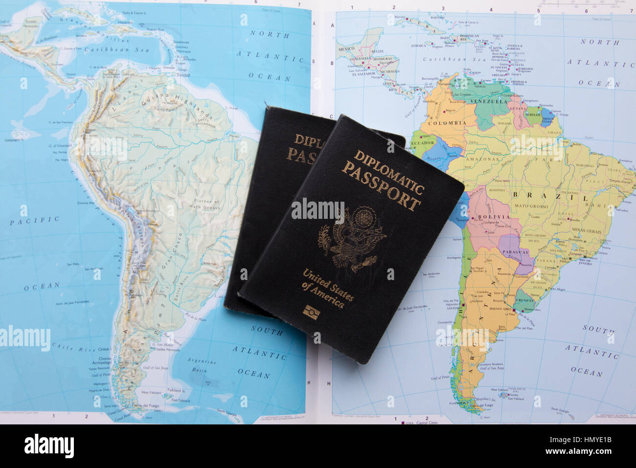 Diplomatic passport of the United States of America on maps ...