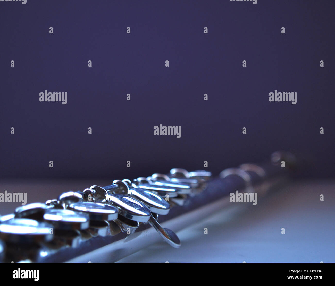 Flute Close up, fading into the background. Partial view, - Stock Image