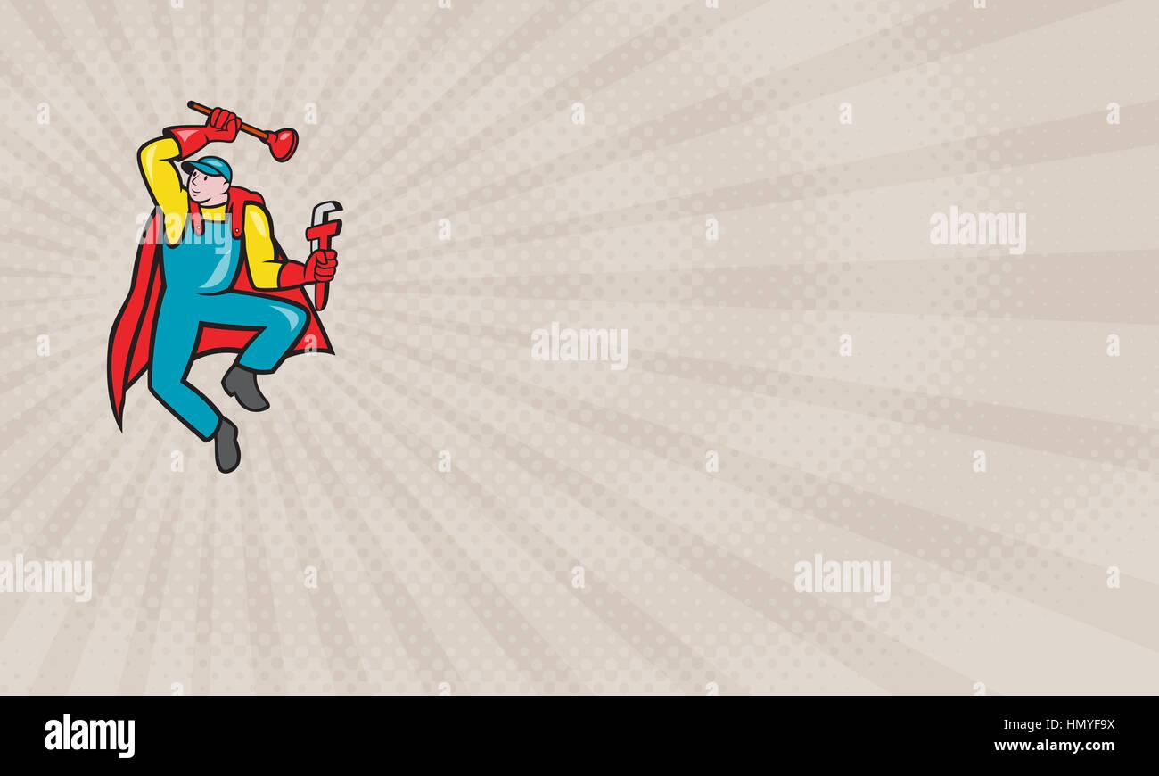 Business card showing Illustration of a superhero super plumber ...