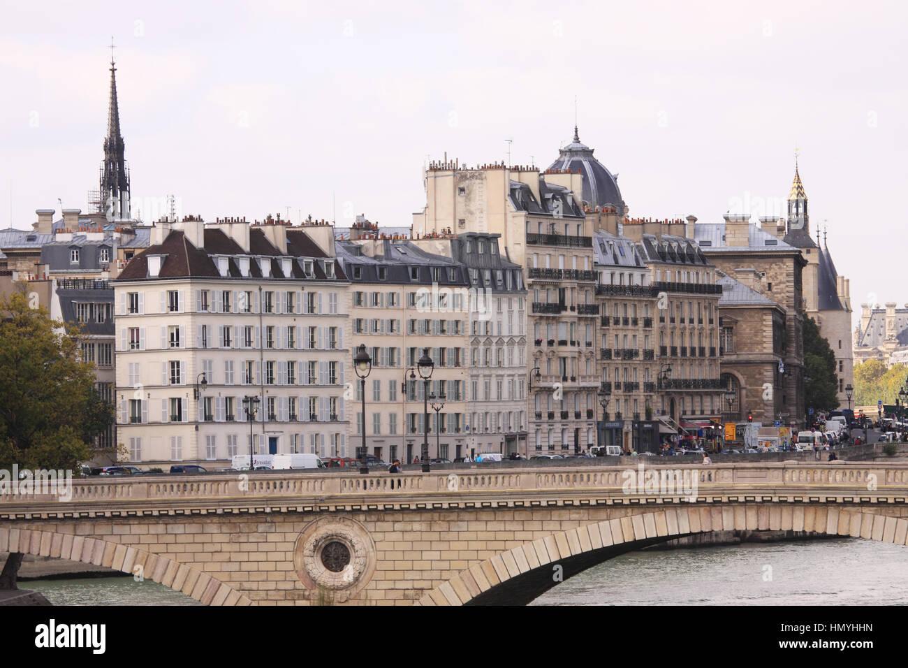 Pont Louis-Philippe crossing over River Seine in Paris - Stock Image