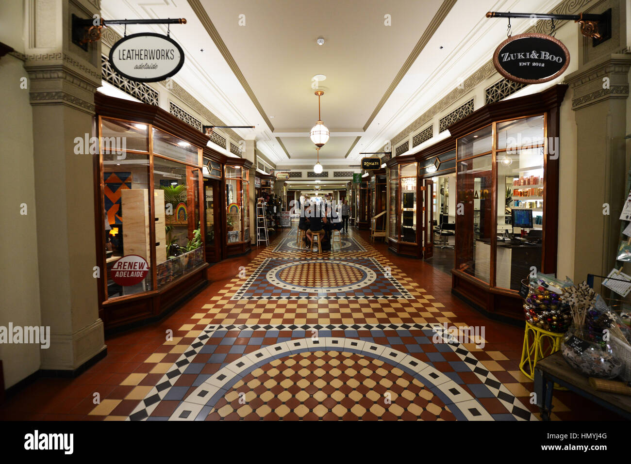 A colorful old shopping arcade connecting Rundle mall and Grenfell St. - Stock Image