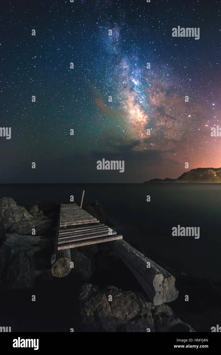 Milky way galaxy at Camel Beach, Kefalos, Kos island. - Stock Image