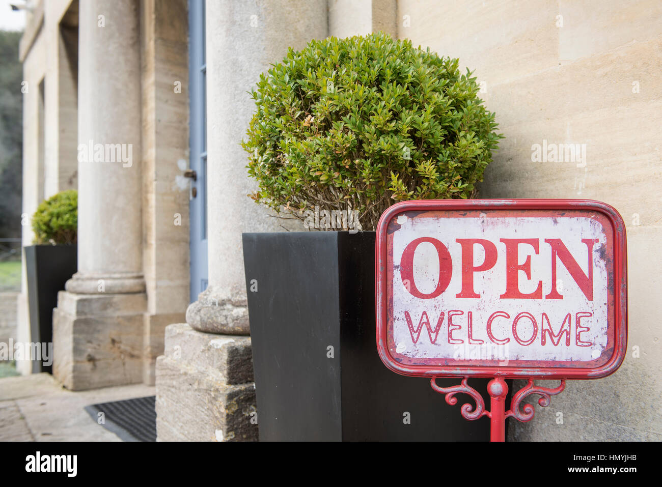 Welcome sign at The Painswick Hotel, near Stroud, Gloucestershire UK Stock Photo