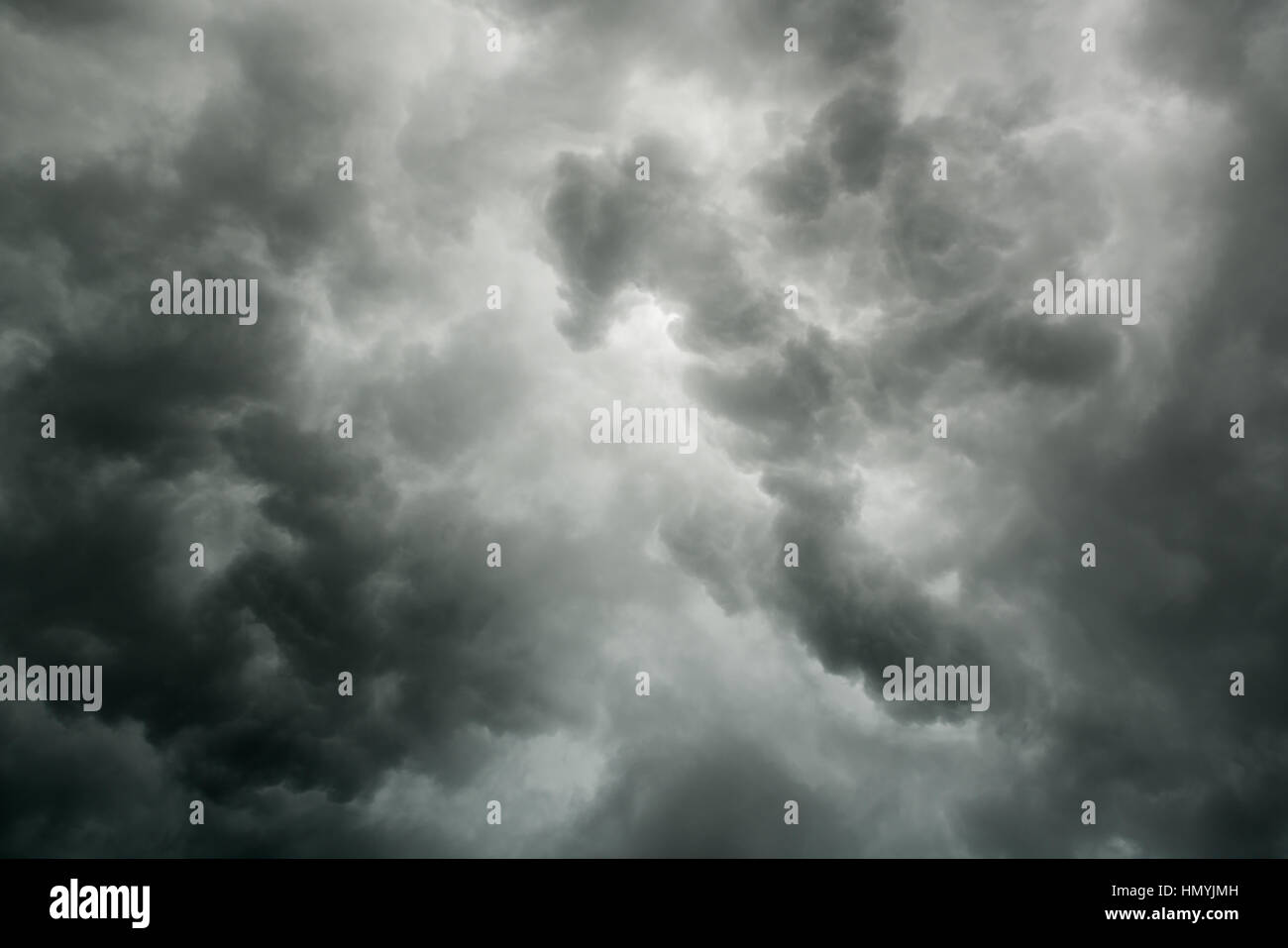 Cloudy stormy black and white dramatic sky background - Stock Image