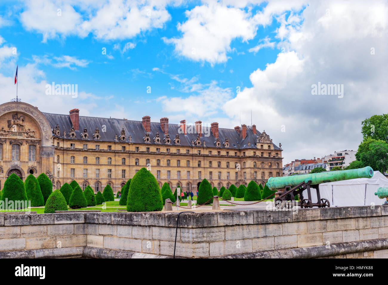 Park near main entrance to  Les Invalides. Paris, France. Stock Photo