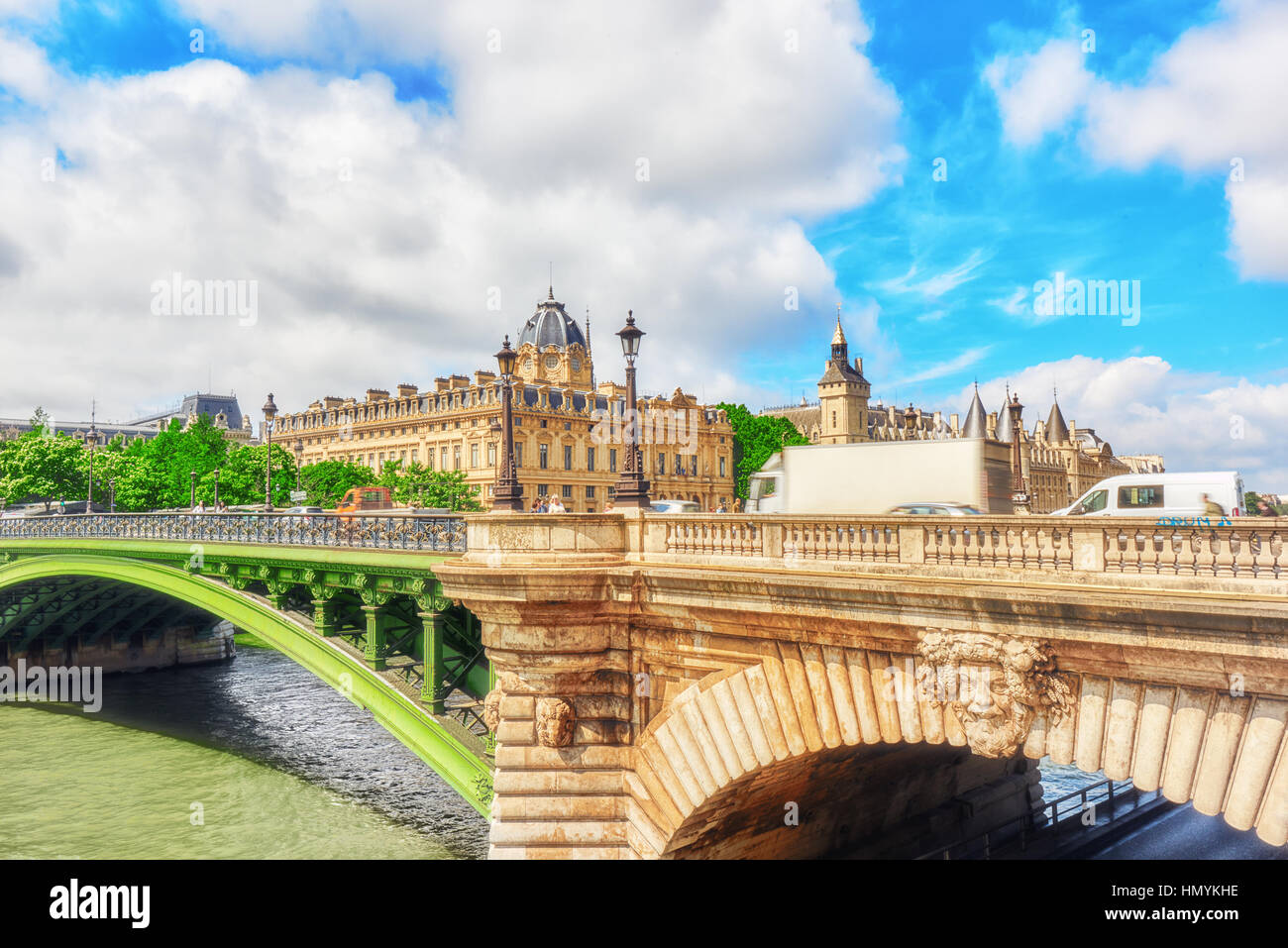 PARIS, FRANCE - JULY 04, 2016 : IRiver Seine, Registry of the Paris Commercial Court and Bridge of Changed in Paris. - Stock Image