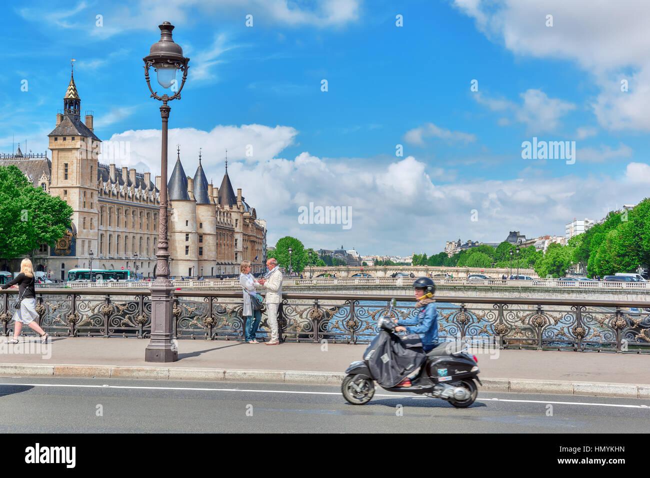 PARIS, FRANCE - JULY 04, 2016 : Castle - Prison Concierges and Exchange Bridge on the Seine in Paris. France. - Stock Image