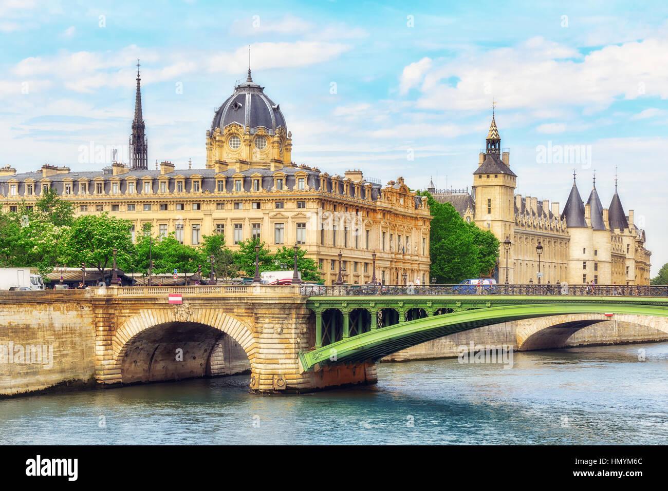 PARIS, FRANCE - JULY 08, 2016 : Castle - Prison Concierges and Exchange Bridge on the Seine in Paris. France. - Stock Image