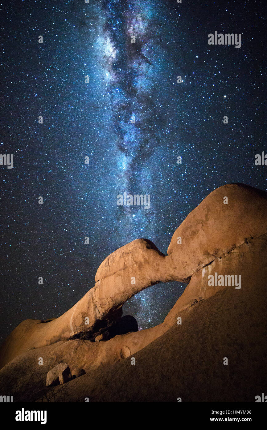Details of the Spitzkoppe Nature Reserve under the milky way, Namibia. - Stock Image