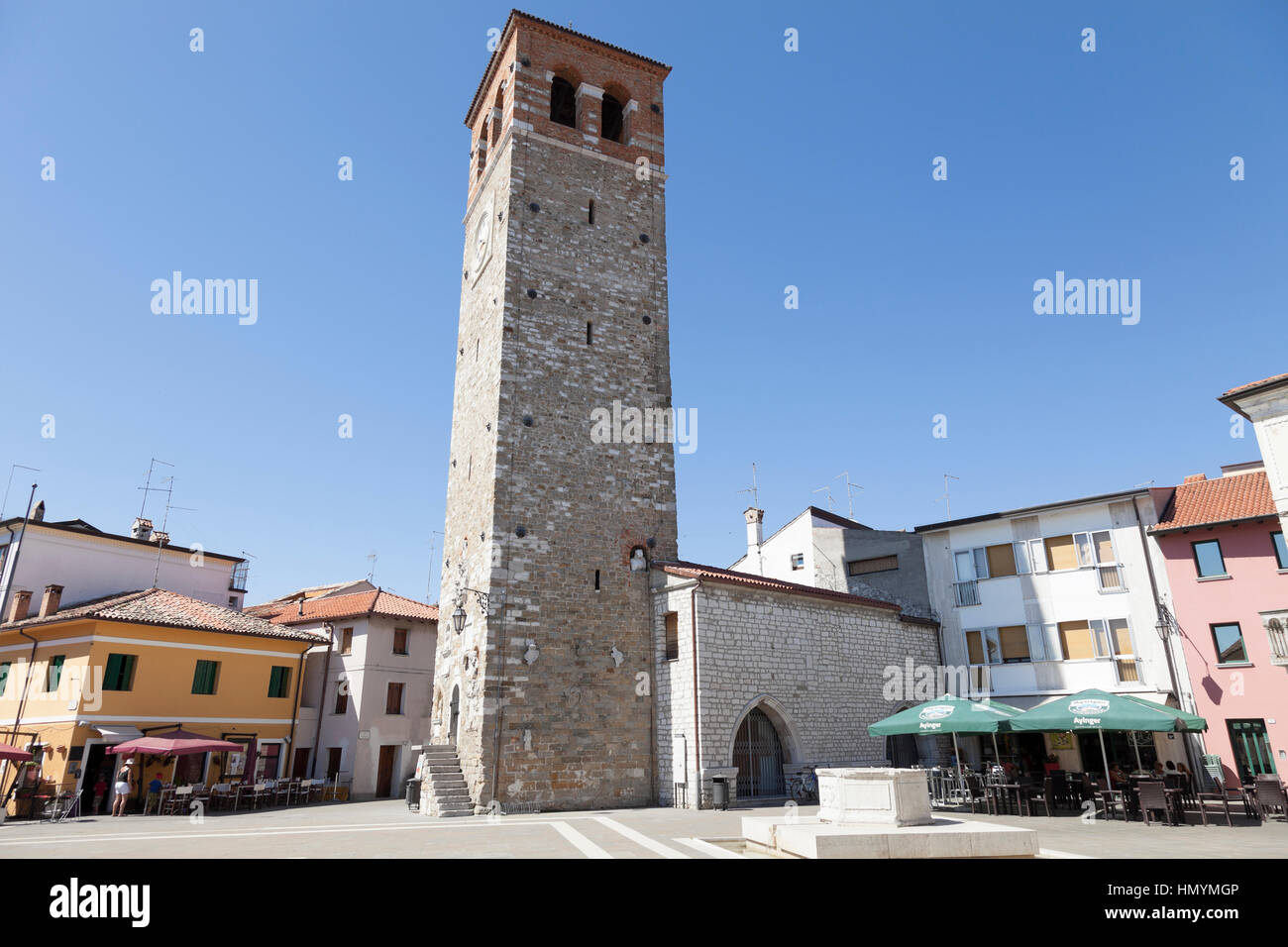 Old town and old tower of Marano Lagunare Stock Photo