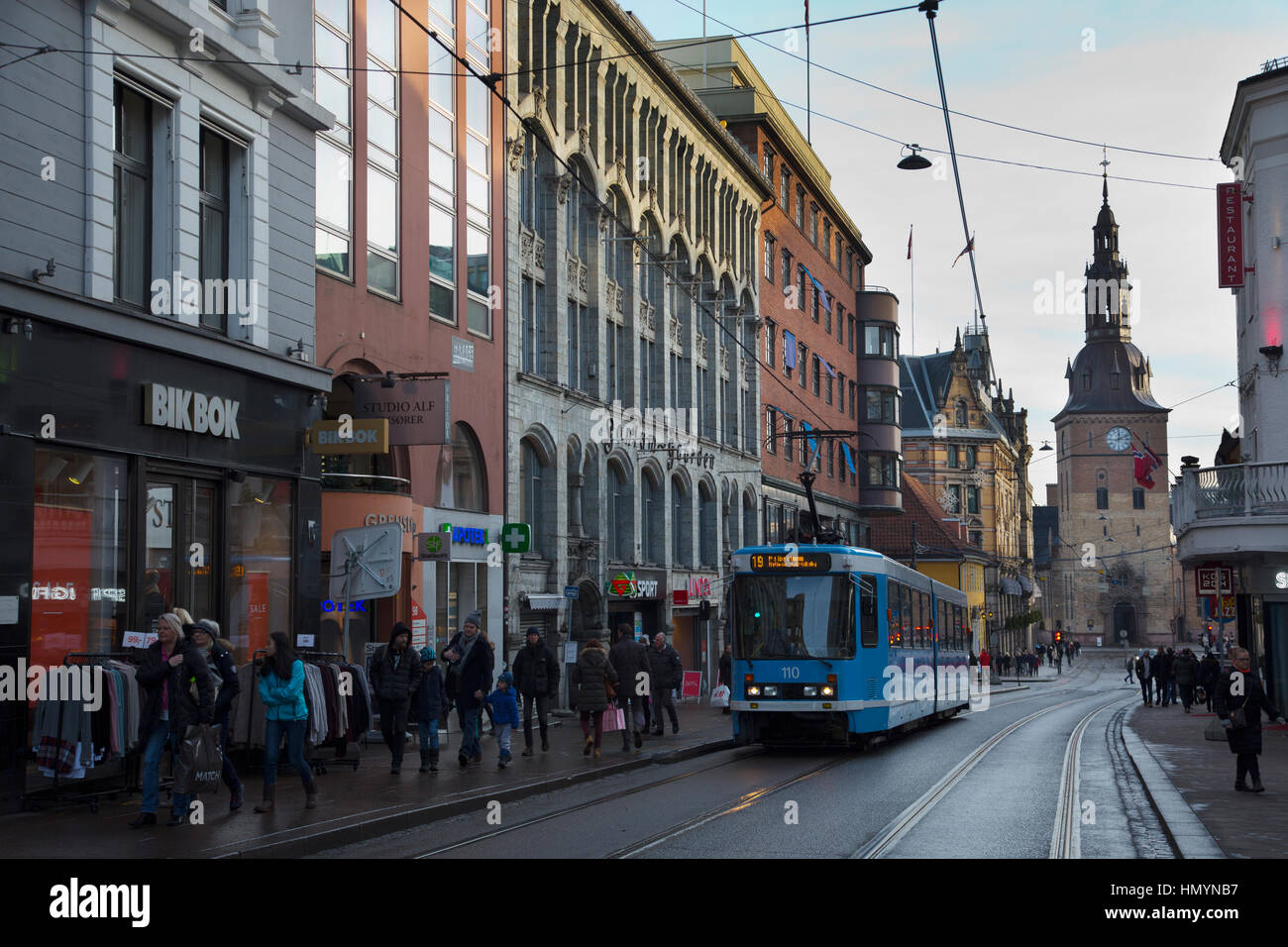 Oslo Cathedral at the end of Grensen Street, central Oslo, Norway, Scandinavia - Stock Image
