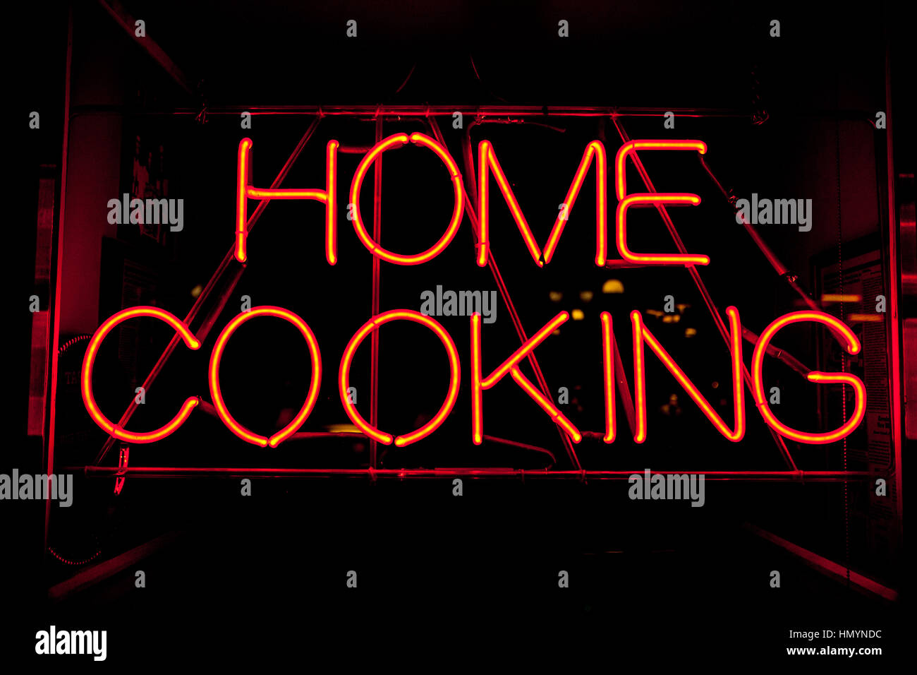 Home cooking neon sign - Stock Image