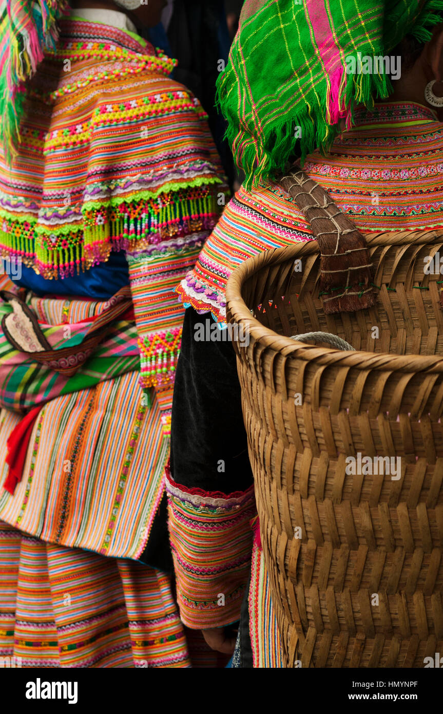 Vietnam. Bac Ha Market. Hmong Flower Women - Stock Image