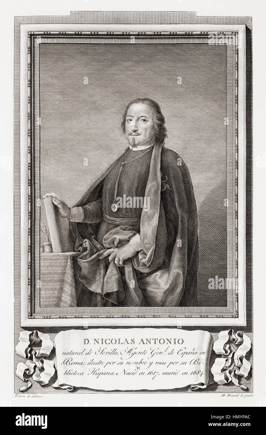 Nicolás Antonio, 1617 – 1684.  Spanish bibliographer.  After an etching in Retratos de Los Españoles Ilustres, - Stock Image