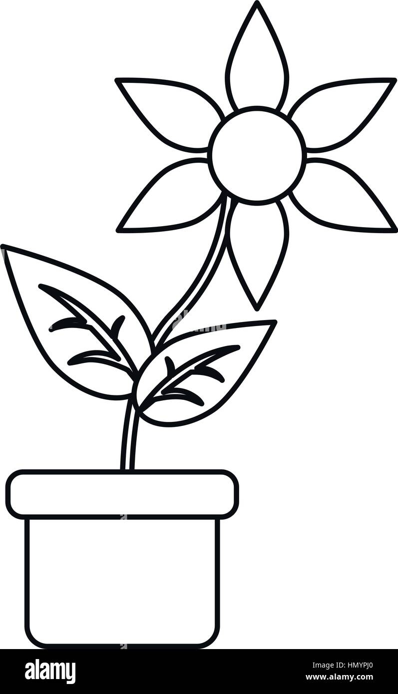 Flower Pot Drawing Sketch Stock Photos Flower Pot Drawing Sketch