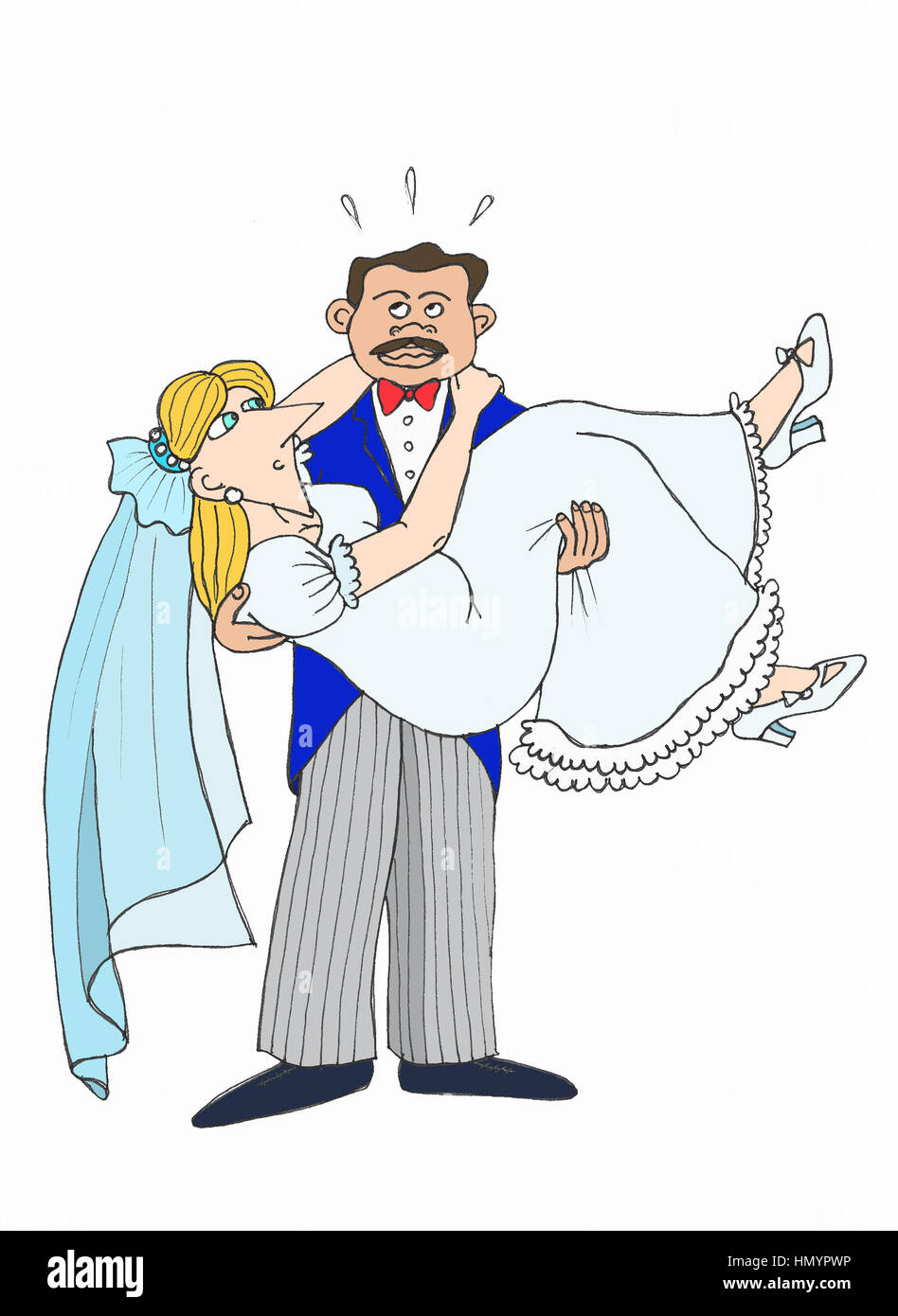Just married. Illustration. - Stock Image