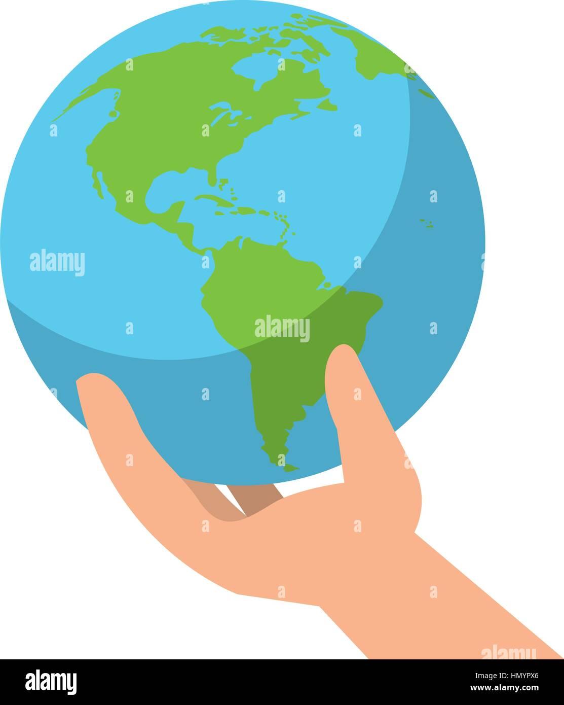 environmental hand holding world care - Stock Image