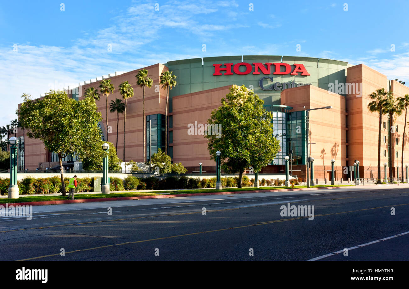 The Honda Center in Anaheim California, Home of the Mighty Ducks National Hockey League team - Stock Image
