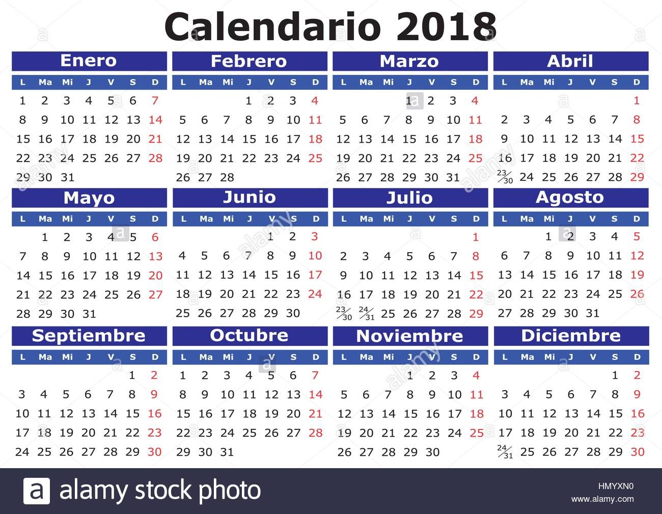 Calendario Con Week 2018.Calendario 2018 Stock Photos Calendario 2018 Stock Images