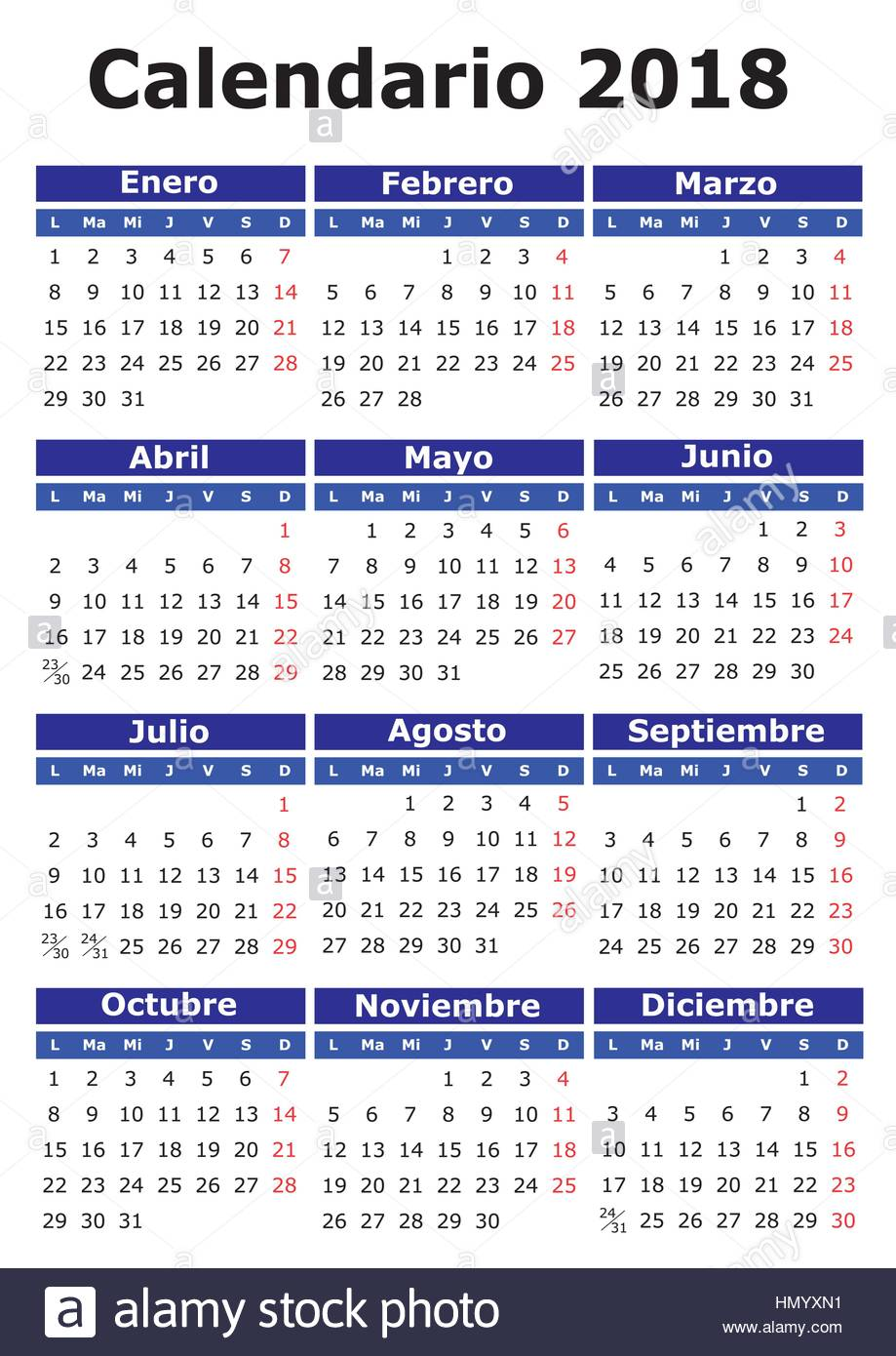 2018 vector calendar in spanish easy for edit and apply calendario 2018