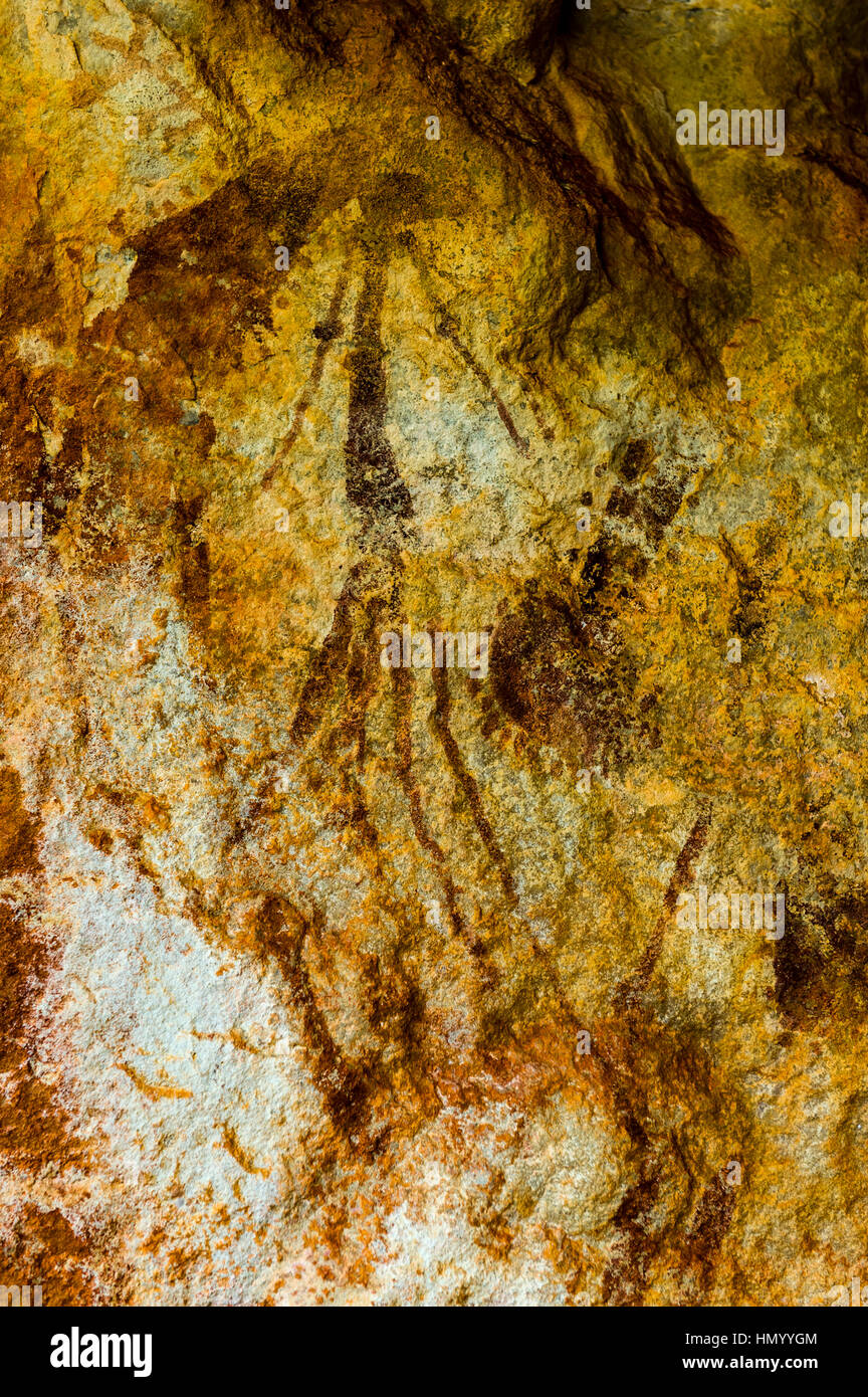 Ancient Aboriginal Gwion Gwion rock paintings also know as Bradshaw ...