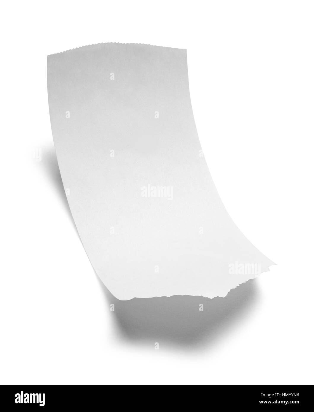 blank sales receipt paper isolated on white background stock photo