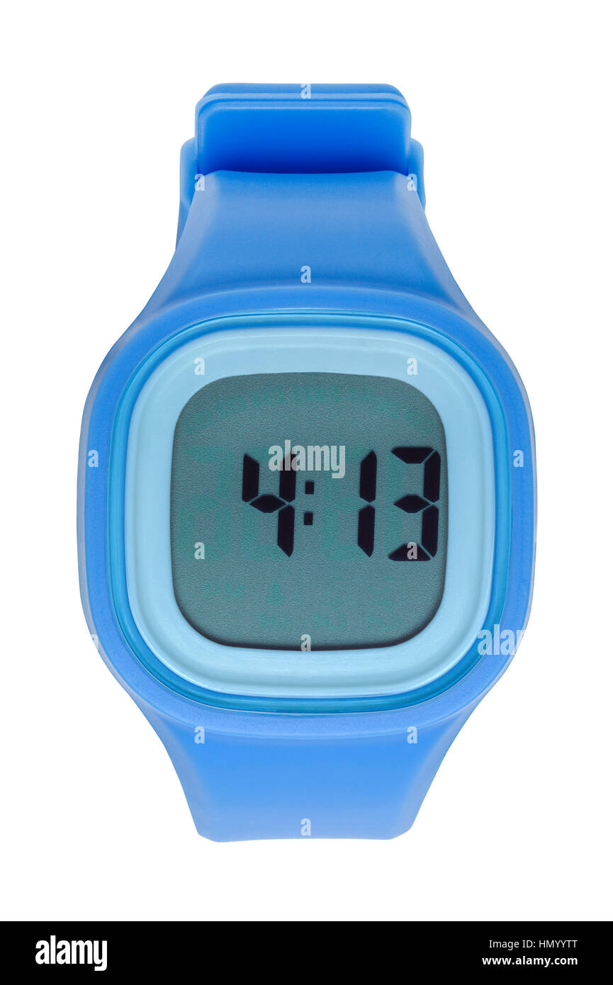 New Blue Digital Watch Cut Out on White. - Stock Image