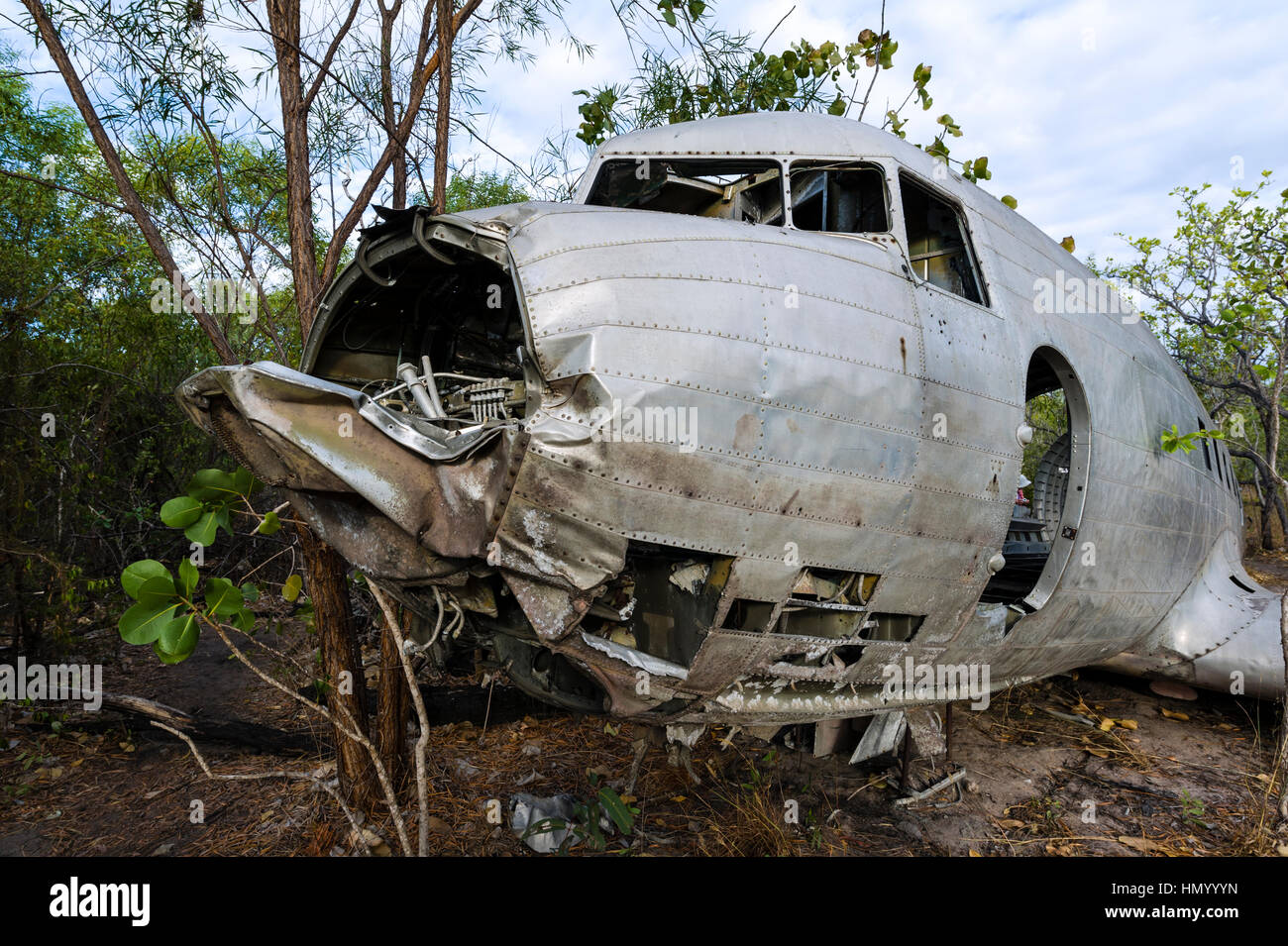 The wrecked cockpit and fuselage of a DC-3 in the forest after crashing during WWII. - Stock Image