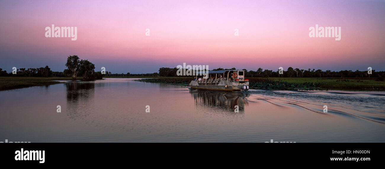 A tourist boat explores a tranquil billabong during the sunset afterglow. - Stock Image
