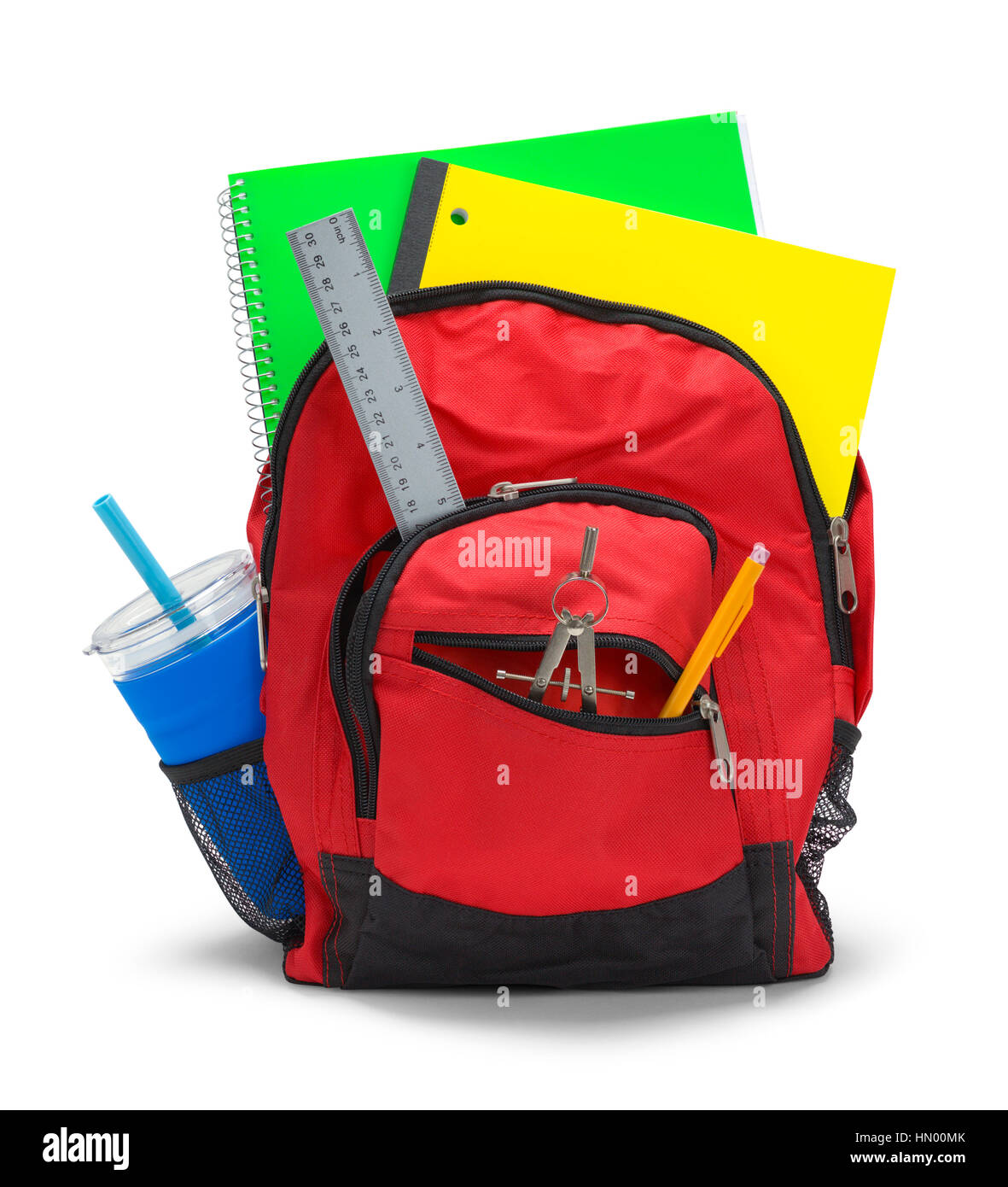 Red Backpack with School Supplies Isolated on White Background. - Stock Image
