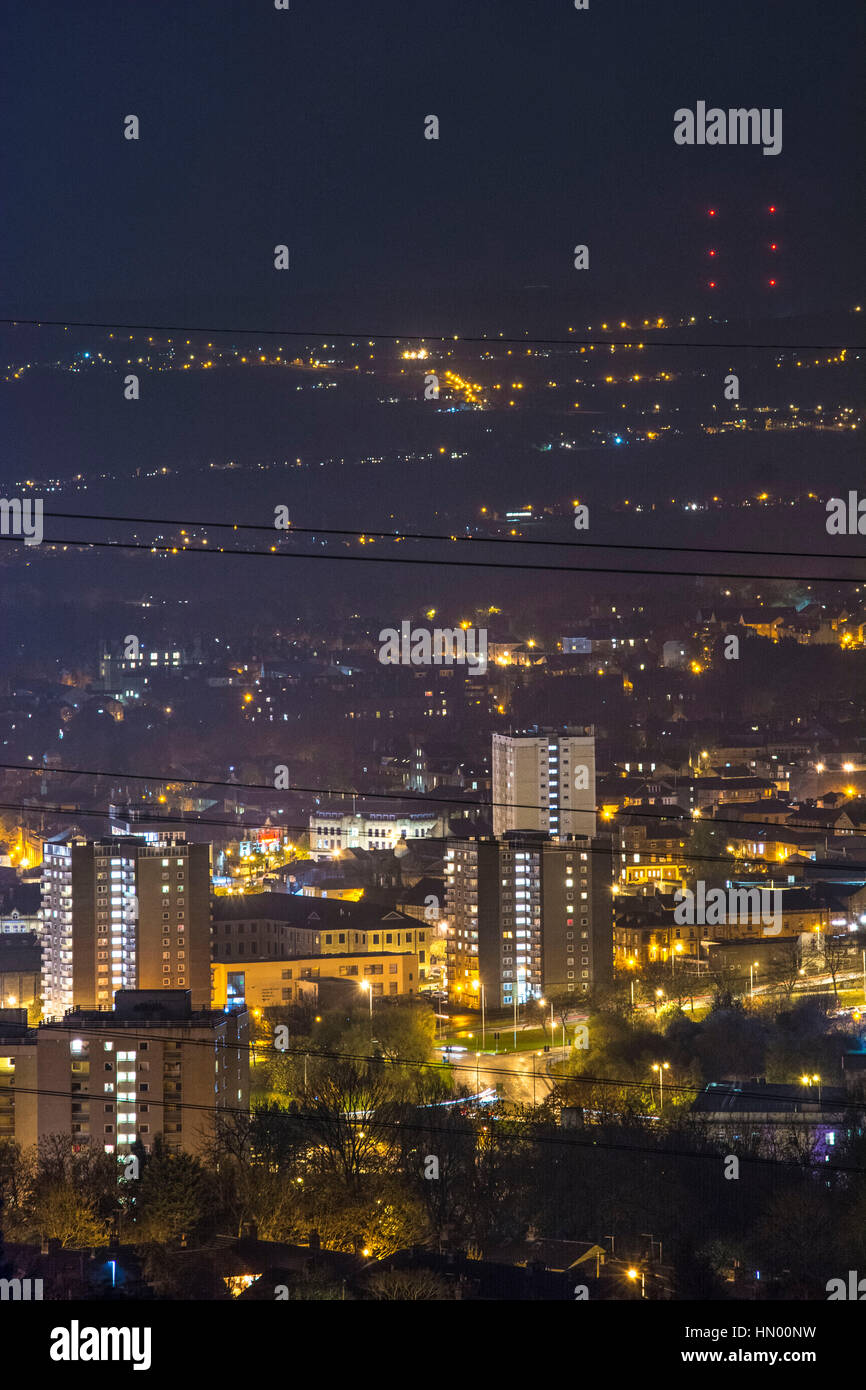 Small town in the dark. This is Sowerby Bridge in West Yorkshire, the Uk. Taken from the side of Borland hill right - Stock Image