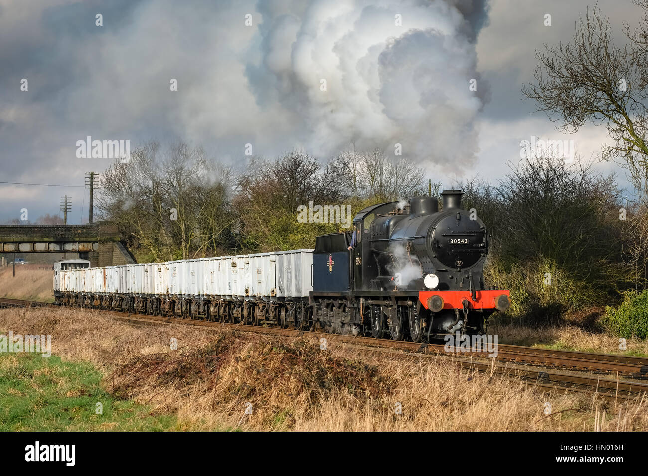 Southern Q Class 0-6-0 No. 30543 leaving Loughborough on the Great Central Railway, February 2017 - Stock Image