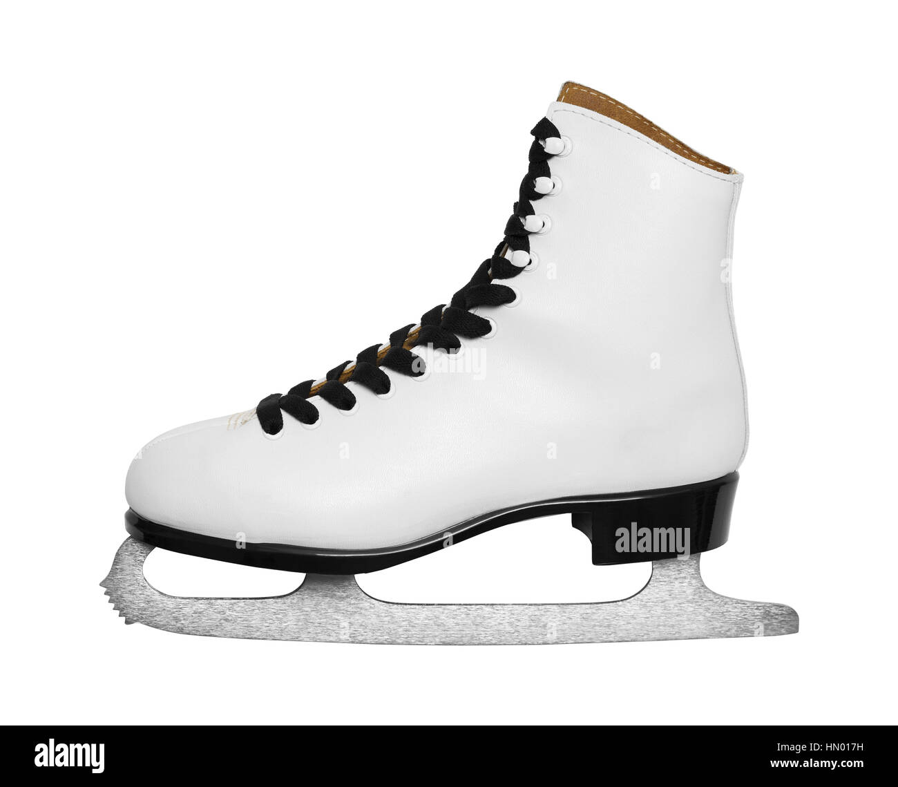 SIngle Ice Skate Side View Cut Out on White. - Stock Image