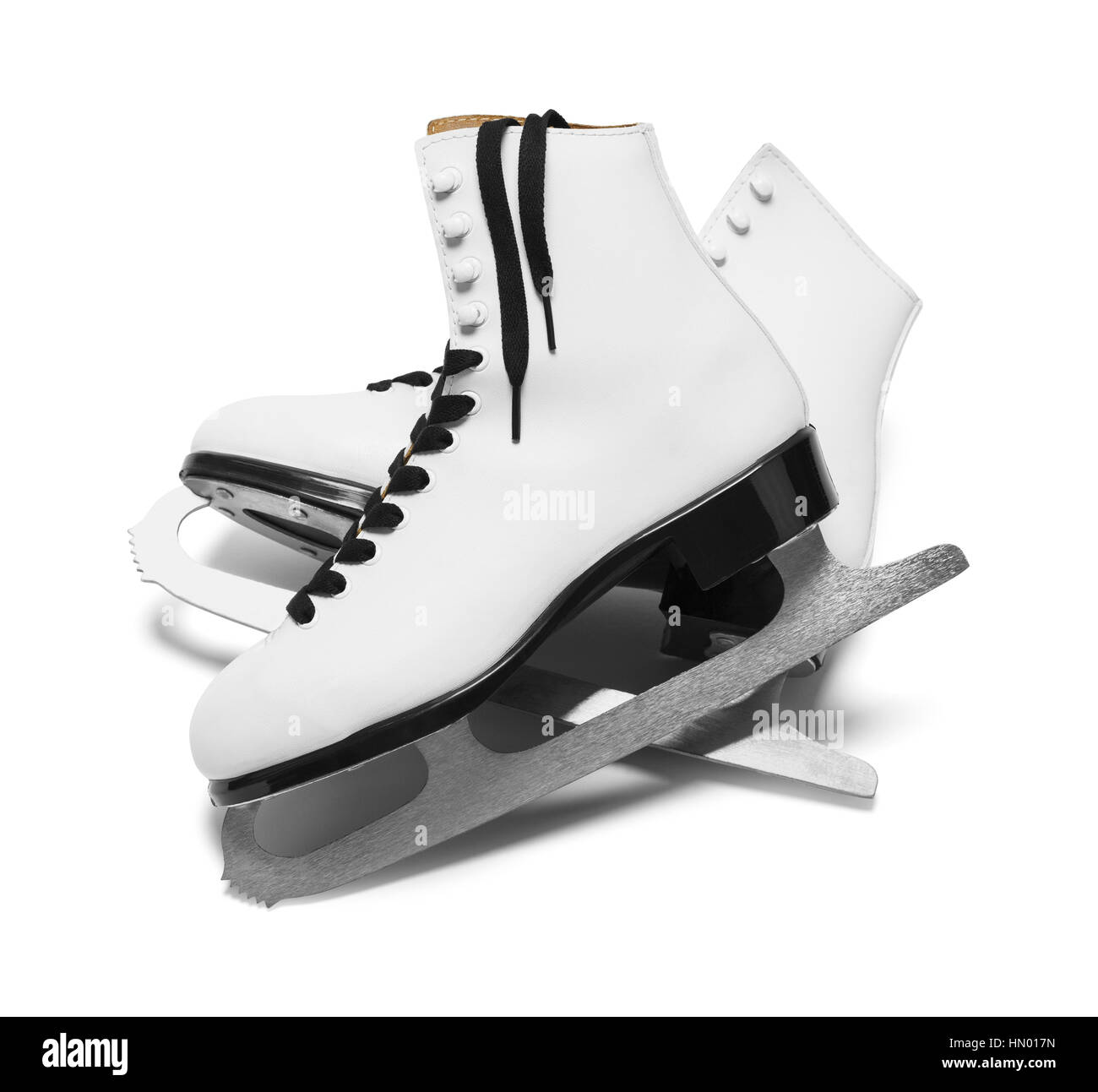 Two Ice Skates with Black Laces Isolated on White Background. - Stock Image