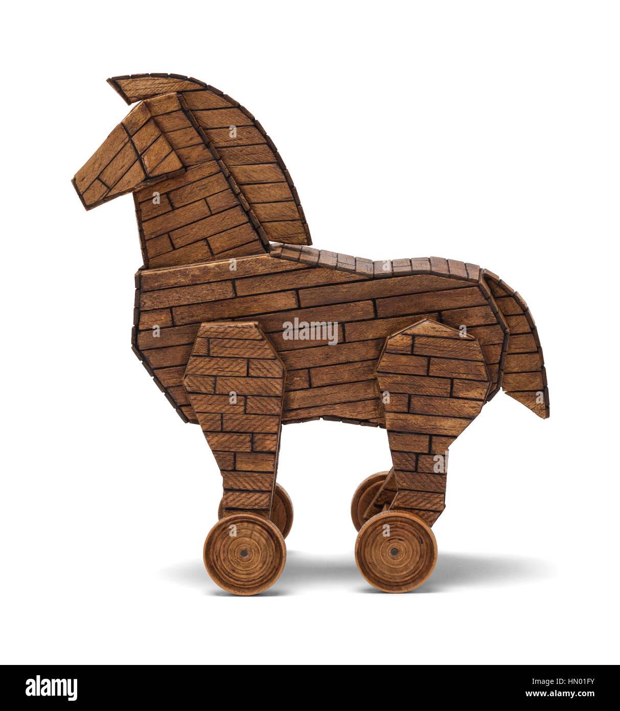 Wooden Tojan Horse Isolated on White Background. - Stock Image