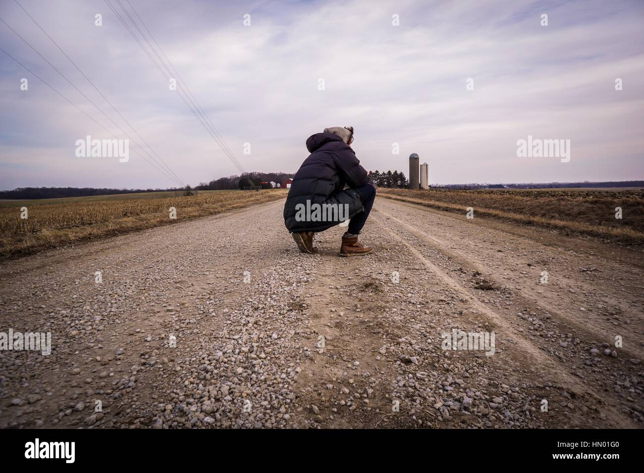 Gravel Road Thoughts, Wilton Iowa - Stock Image