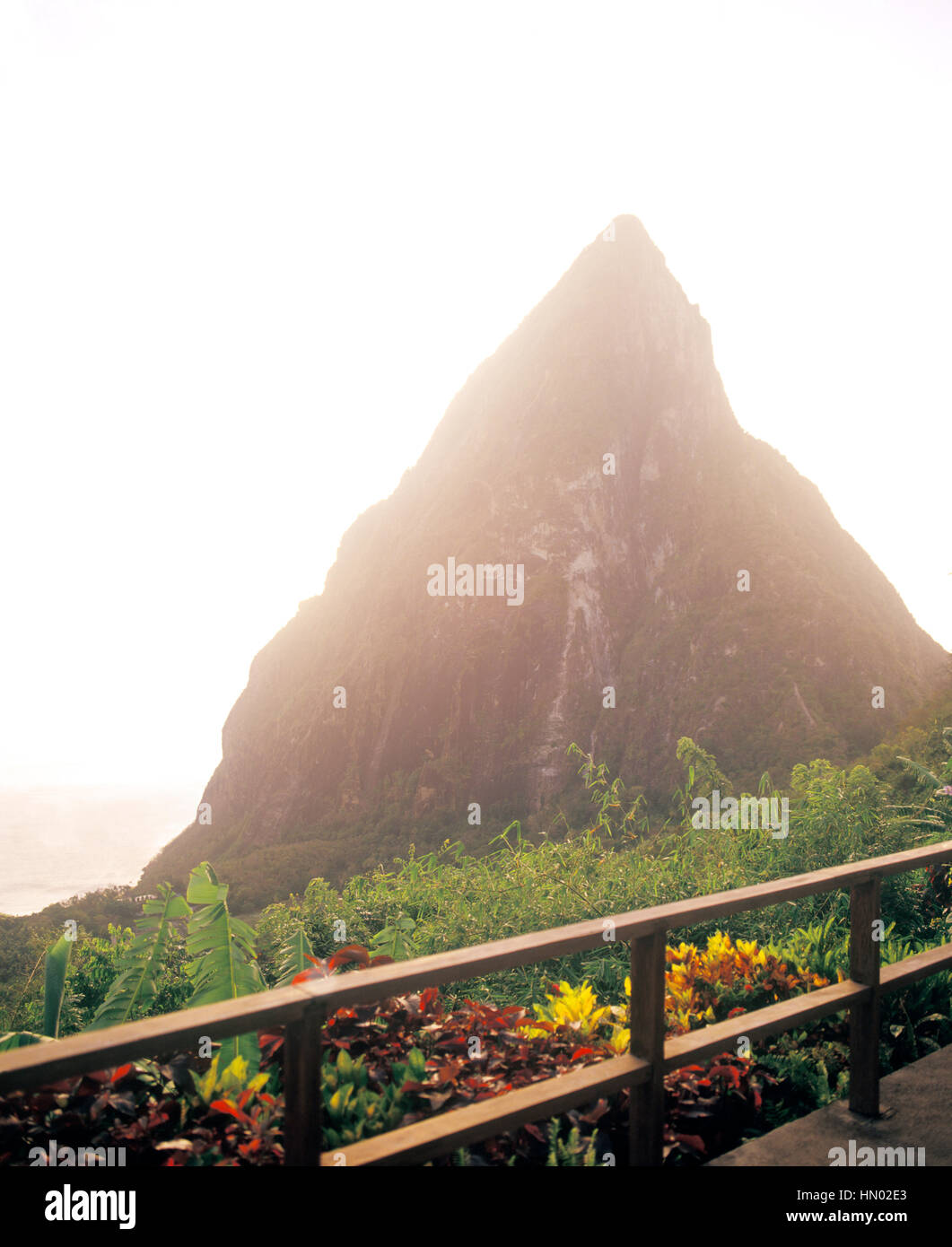 A private view of Petit Piton at sunset from Villa B  at Ladera Resort. Ladera is considered on of the best resorts - Stock Image